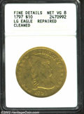 Early Eagles: , 1797 $10 Large Eagle--Repaired, Cleaned--ANACS. Fine ...