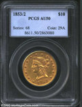 Liberty Eagles: , 1853/2 $10 AU50 PCGS. Beautifully shaded an even rose-...