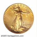 High Relief Double Eagles, 1907 $20 High Relief, Wire Rim AU58 PCGS. A choice ...