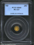 California Fractional Gold: , Undated 25C Liberty Round 25 Cents, BG-223, R.4, MS64 PCGS.