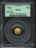 California Fractional Gold: , 1852 50C Liberty Round 50 Cents, BG-401, R.5, MS64 PCGS. ...