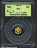 California Fractional Gold: , 1853 50C Liberty Round 50 Cents, BG-415, R.6, MS63 PCGS. ...