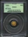 California Fractional Gold: , 1853 50C Liberty Round 50 Cents, BG-428, R.4, MS63 PCGS. ...