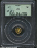California Fractional Gold: , 1853 50C Liberty Round 50 Cents, BG-429, R.5, MS62 PCGS. ...