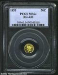 California Fractional Gold: , 1853 50C Liberty Round 50 Cents, BG-430, R.5, MS64 PCGS. ...