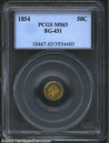 California Fractional Gold: , 1854 50C Liberty Round 50 Cents, BG-431, R.5, MS63 PCGS. ...
