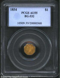 California Fractional Gold: , 1854 $1 Liberty Octagonal 1 Dollar, BG-532, R.5, AU55 PCGS.