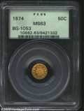 California Fractional Gold: , 1874 50C Indian Round 50 Cents, BG-1053, R.7, MS63 PCGS. ...