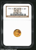 Commemorative Gold: , 1915-S G$1 Panama-Pacific Gold Dollar MS66 NGC. While ...