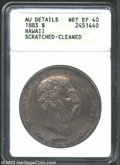 Coins of Hawaii: , 1883 $1 Hawaii Dollar--Scratched, Cleaned-ANACS. AU ...