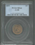 Patterns: , 1859 P1C Indian Cent, Judd-228, Pollock-272, R.1, MS64 PCGS....