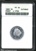 1883 5C Liberty Head Five Cents, Judd-1706, Pollock-1910, R.7, PR64 ANACS. The obverse features Charles Barber's head of...