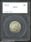 Additional Certified Coins: , 1913-D 25C Quarter MS64 SEGS (MS63). A sharply struck, ...