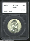 Additional Certified Coins: , 1953-S 50C Half Dollar MS64 90% Full Bell Lines SEGS (MS64)....