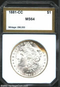 Additional Certified Coins: , 1881-CC $1 Morgan Dollar MS64 PCI (MS64). Bands of ...