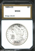 Additional Certified Coins: , 1885-CC $1 Morgan Dollar MS66 PCI (MS65). A boldly ...