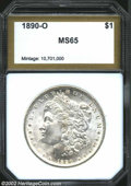 Additional Certified Coins: , 1890-O $1 Morgan Dollar MS65 PCI (MS63). A lustrous and ...