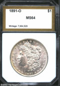 Additional Certified Coins: , 1891-O $1 Morgan Dollar MS64 PCI (MS61). Well struck, ...