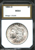 Additional Certified Coins: , 1894-O $1 Morgan Dollar MS64 PCI (MS62). Softly struck ...