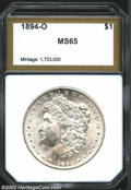 Additional Certified Coins: , 1894-O $1 Morgan Dollar MS65 PCI (MS63). When ...