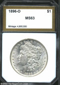 Additional Certified Coins: , 1896-O $1 Morgan Dollar MS63 PCI (AU58). The 6 in the ...