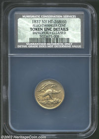 1837 1C Feuchtwanger Cent--Improperly Cleaned--NCS. Unc Details. HT-268(6I), R.1. Light yellow-green and aqua patina, wi...