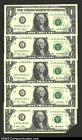 Error Notes:Foldovers, Five consecutive 2001 $1 Federal Reserve Notes, Fr-1926-B, all ...