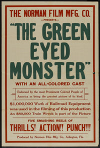 """The Green Eyed Monster (Norman, 1919). One Sheet (28"""" X 42). Black Films"""