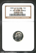 Proof Roosevelt Dimes: , 1999-S Silver PR 69 Deep Cameo NGC. ...