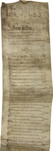 Autographs:Non-American, 17th Century English Parchment Scroll. . ...