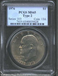 Eisenhower Dollars: , 1976 Type Two MS65 PCGS. ...