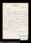 Autographs, Ed Asner Handwritten Letter Signed to Joan Crawford