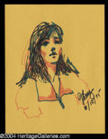 Autographs, Joan Baez Hand Drawn Original Artwork!