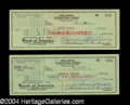 Autographs, Lucille Ball & Desi Arnaz Signed Check Set