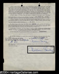 Autographs, William Bendix Signed Document