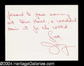 Autographs, James Coco Letter Signed to Joan Crawford