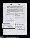 Autographs, Gary Cooper & Robert Wise Rare Signed Document