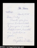 Autographs, Phyllis Diller Letter Signed To Joan Crawford