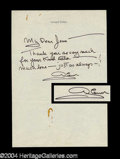 Autographs, Glenn Ford Signed Letter to Joan Crawford