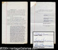 Autographs, Robert Fosse Signed Document