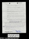 Autographs, Andy Griffith Signed Document