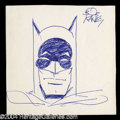 Autographs, Bob Kane Hand Drawn & Signed Batman Sketch