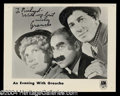 Autographs, Groucho Marx Signed Publicity Photo