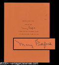 Autographs, Mary Pickford Typed Quotation Signed