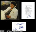 "Autographs, Vincent Price Signed ""Thriller"" Typescript"