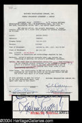 Autographs, Rosalind Russell Signed Document