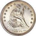 Seated Quarters, 1874 25C Arrows MS67 NGC....