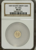 California Fractional Gold: , 1859 50C Liberty Round 50 Cents, BG-1002, High R.4, MS65 NGC. Thissplendidly unabraded Gem provides silky fields and sharp...