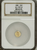 California Fractional Gold: , 1881 25C Indian Octagonal 25 Cents, BG-799M, Low R.5, MS65Prooflike NGC. The brightly mirrored canary-gold fields ensure t...