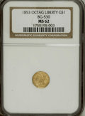 California Fractional Gold: , 1853 $1 Liberty Octagonal 1 Dollar, BG-530, R.2, MS62 NGC. A boldlystruck representative of this well made and popular Per...